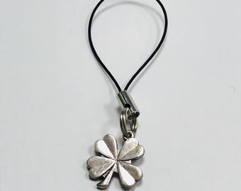 Silver Lucky Four Leaf Clover Phone Charm with Black Tie