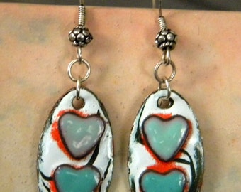 Turquoise Hearts Heart Enameled Copper Charms Dangle Earrings Rhonda Harris Spankys Beads Sterling Silver Ear Wires