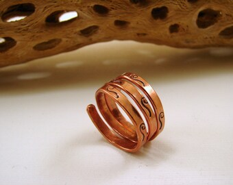 Copper Triple Strand Hand Stamped Ring - Any size