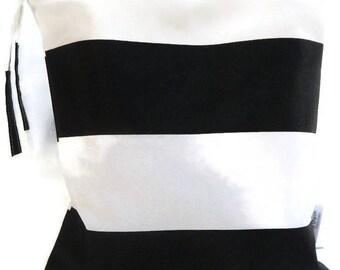 Black and White striped wet bag, waterproof bag, wet dry bag, bridesmaid gift, bikini bag