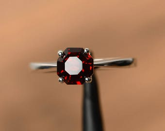 natural red garnet rings January birthstone octagon cut rings silver rings unique ring
