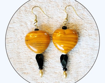 Yellow and Black, Yellow Earrings, Black Earrings, beaded earrings, long earrings, chic danglers, modern jewelry, accessories, Item #YBE-01