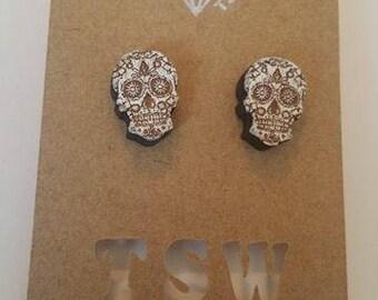 Geometric Calavera Skulls Wood  Laser cut and Laser Engraved Stud Earrings