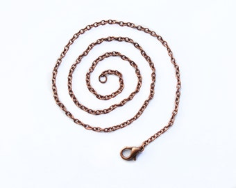 "16/18/20 inch copper chain necklace antique copper chain necklace 2x3mm links. 16""/18""/20"" flat chain links."