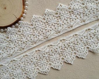 Antique Style Cotton Lace Trim in White, Crochet Lace Trim Costume design Home Decor Lace Supply