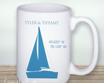Beach - Sailing Life Together - Nautical Wedding - Latitude and Longitude Coordinates - Custom Coffee Mug - Ceramic Cup - Coffee - Cup - Mug