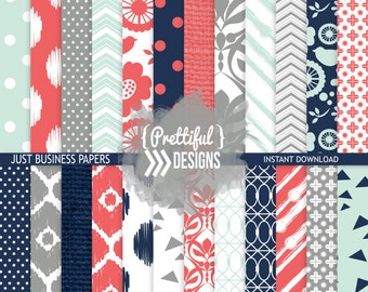 Coral and Navy Digital Paper for Commercial Use