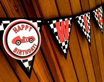 Custom Race Car Pennant Name Banner - Single or double letters