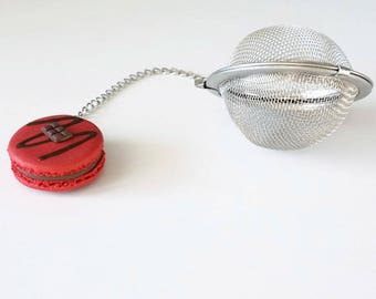 Tea ball Red Raspberry and chocolate - polymer clay