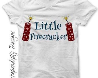 Iron on Firecracker Shirt PDF - Fourth of July Iron on Transfer / 4th of July Outfit / Boys Little Firecracker Tshirt / Custom Print IT436