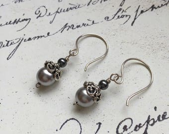 Pia Earrings of Gray Glass Pearls & Sterling Silver