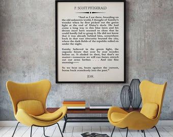 The Great Gatsby Last Page Quote Print Gatsby Wall Art Gatsby Poster Gatsby Quotation Great Gatsby Decor F Scott Fitzgerald Quote Gatsby Art