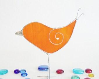 Stained Glass- Orange Bird- Sun Catcher- Home Decor