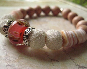 Lava Bead Bracelet, Sterling Silver, Lampwork Glass Bead, White Lava Beads, Essential Oil Beads, Rosewood Beads, Pink Lahuanas Shell