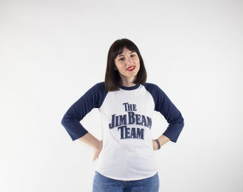 Vintage Jim Beam Shirt | Super Soft 80s Whiskey Baseball Tee | 3/4 Sleeve T-Shirt