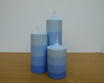 Scented Stripy Trio Pillar Candles