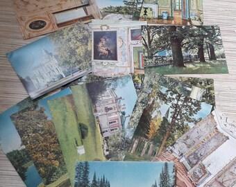 Set of 16 vintage Soviet postcards, City Lomonosov.