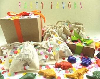 CRAYON PARTY FAVORS, Dinosaur, Sea, Farm, Bug, Heart, Fish, Tropical, Garden, Kids Birthday Party, Gift Bags, Eco Friendly, Natural Crayons