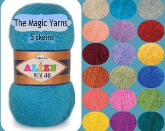 Alize Angora Real 40- Set of 5 skeins,wool,angora goat yarn,winter yarn, fingering yarn,3-4 ply yarn,soft yarn,fine weight,neon pink, denim