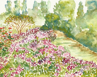 Garden Path Watercolor Fine Art Print, 8x10, Garden Watercolor, Watercolor Flowers