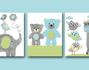 Bears Green Blue Gray Elephant Giraffe Nursery Download Baby Boy Nursery Print Printable Digital Art set of 3 8x10 11X14 INSTANT DOWNLOAD