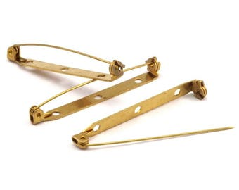 Brass Brooch Pin, 20 Raw Brass Brooch Pin Back Base Safety Pins With 3 Holes (45x4.60mm) D427