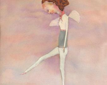 "Pre teen teenager wall art. girls room art decor. figure of girl with wings ""Paper Wings"""