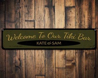 Welcome Tiki Bar Sign, Personalized Bar Sign, Custom Bar Name Sign, Metal Beer Decor, Beach House Bar Sign - Quality Aluminum ENS1001268