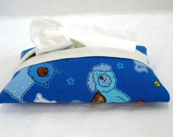 Pocket Tissue Holder Dogs on Blue Travel Size Tissue Case Tissue Cozy