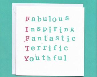 Fantastic 50th Birthday Card, 50 Card, 50th Birthday Card for Him, 50th Birthday Card for Her, 50th Birthday Card Friend, Fiftieth Card