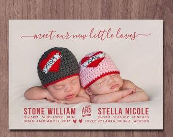 Twin Valentine Birth Announcement Modern Valentine's Day Twins Birth Announcement Modern Twin Announcement Boys Girls Photo Card Little Love