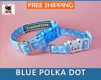 Blue polka dot cat collar breakaway, kitten collar, cat collar with bell, cute cat collars, boy cat collar, girl cat collar, Crafts4Cats