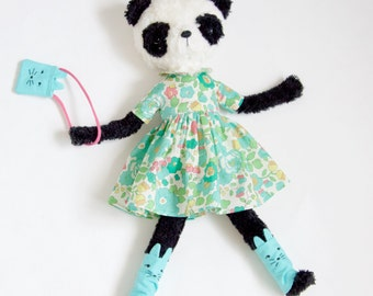 Eco friendly soft panda plush, Stuffed animal panda doll, softie, panda plush, fur panda bear in floral dress and kitten leggings.