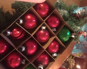 12 vintage mini Glass Christmas ornaments /premier Glass works inc 1970's