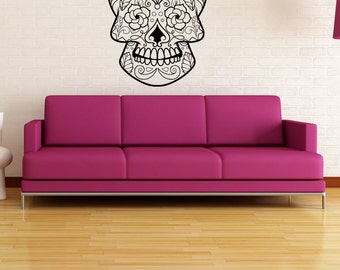 Vinyl Wall Decal Sticker Floral Sugar Skull 1176m