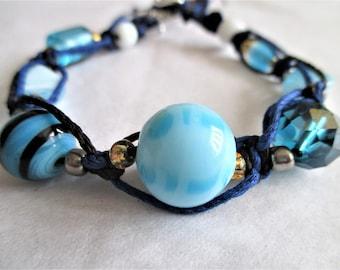 Deep Waters, Women's Braided and Beaded Bracelet