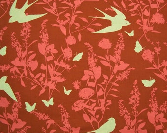 STORE CLOSING SALE - Joel Dewberry, Bungalow, Swallow Study, Chestnut, Free Spirit, 100% Cotton Quilt Fabric, Quilting Fabric