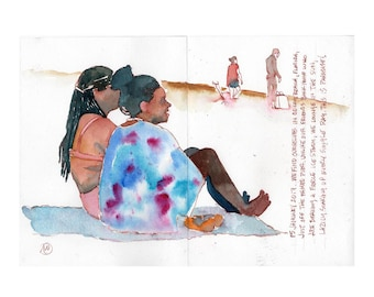 """Print from original watercolor and pen urban sketch, """"Cocoa Beach"""" by Mark Alan Anderson."""