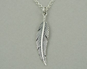 Feather Necklace - Sterling Silver Feather Necklace, feather pendant, best friend gift, boho jewelry, feather jewelry