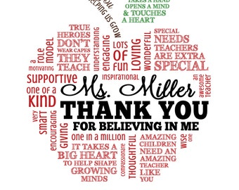Teacher Appreciation Word Art * * Special Needs * * Digital Image * * DIY Printable * *