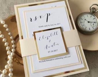 Blush and Gold Wedding Invitation/Gold Foil Wedding Invitation/Blush Wedding Invitation