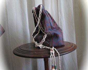 Southwestern Bag handmade tribal print designs, drawstring closure, crossover body, cotton denim print, boho bag, small drawstring bag, s4