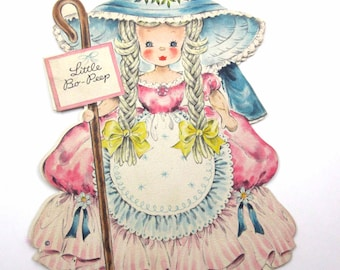 Little Bo Peep Vintage 1940s Greeting Card Land of Make Believe No. 1 Doll Card by Hallmark