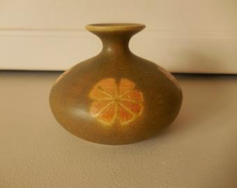 Squatty Vintage Pottery Bud Vase