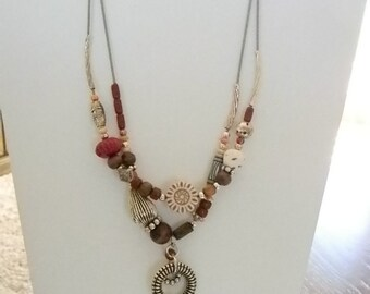 AVON Silver Tone Multi Strand Red Burgundy Brown Beaded Necklace