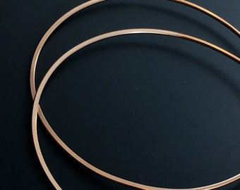 Two Inch Gold Hoop Earrings - Rose Gold Hoops - Hammered Hoops - Bohemian Earrings -  large  Hoop Earrings  -  No.00E133