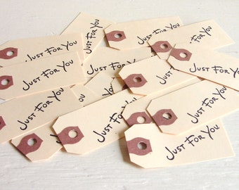Just For You Stamped Thank You Wedding Favors Paper Tags