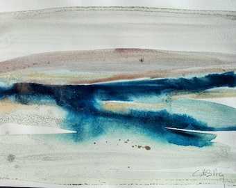 Atmosphere, original watercolor blue and Brown