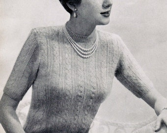 Women's Angora Cabled Short Sleeve Top Knitting Pattern PDF / Size 32, 34 and 36 / Angora Sweater Knitting Pattern / Cable pattern sweater