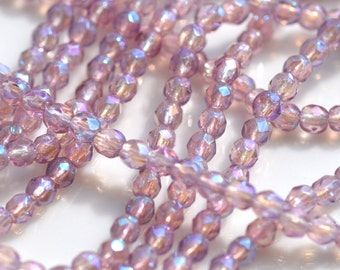 Amethyst Luster 3mm Faceted Fire Polish Round Beads   50